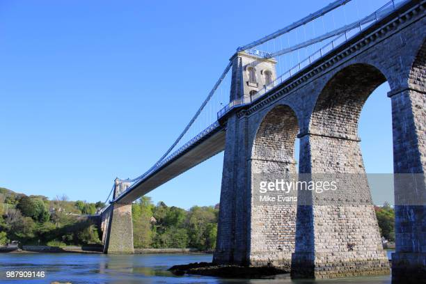 menai suspension bridge - menai bridge stock photos and pictures