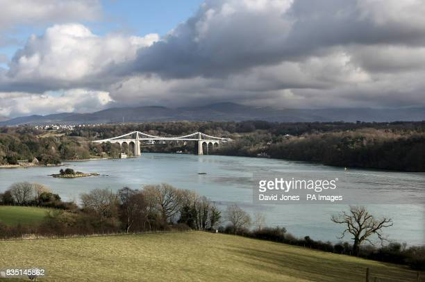 Menai Suspension Bridge, which spans the Menai Strait between Anglesey and the mainland of north Wales. Designed by Thomas Telford and completed in...
