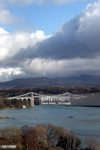 Menai Suspension bridge which spans the Menai Strait between Anglesey and the mainland of north Wales Designed by Thomas Telford and completed in 1826