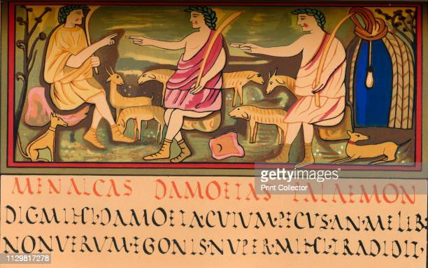 Menalcas Damoetas and Palaemon 5th century A scene from Virgil's Eclogue III featuring Menalcas Damoetas and Palaemon with sheep Facsimile of a...