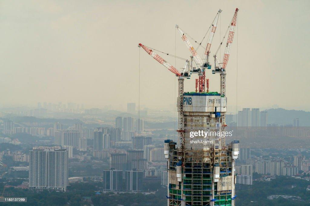 Menara PNB 118 under construction in Kuala Lumpur, Malaysia. : Stock Photo