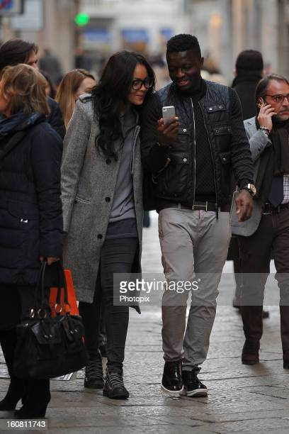 Menaye Donkir Muntari and Sulley Muntari are seen on February 6 2013 in Milan Italy