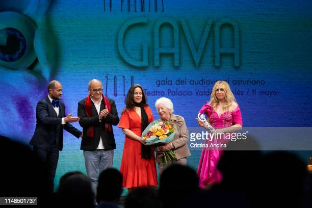 Menchu Alvarez del Valle grandmother of Queen Letizia of Spain receives the honorific award from ICCICA Asociation at Valdes Palace on May 11 2019 in...