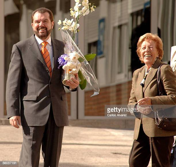 Menchu Alvarez grandmother of Spain's Princess Letizia and Jesus Ortiz the princess' father leave after a visit at the Ruber clinic where the Letizia...
