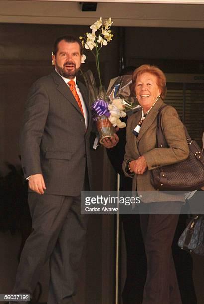 Menchu Alvarez grandmother of Spain's Princess Letizia and Jesus Ortiz the princess' father leave after a visit at the Ruber clinic where Letizia...