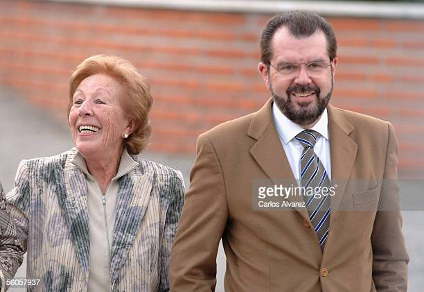 Menchu Alvarez Grandmother of Spain's Princess Letizia and Jesus Ortiz the Princess' Father leave the Ruber Clinic in Madrid after visiting Princess...