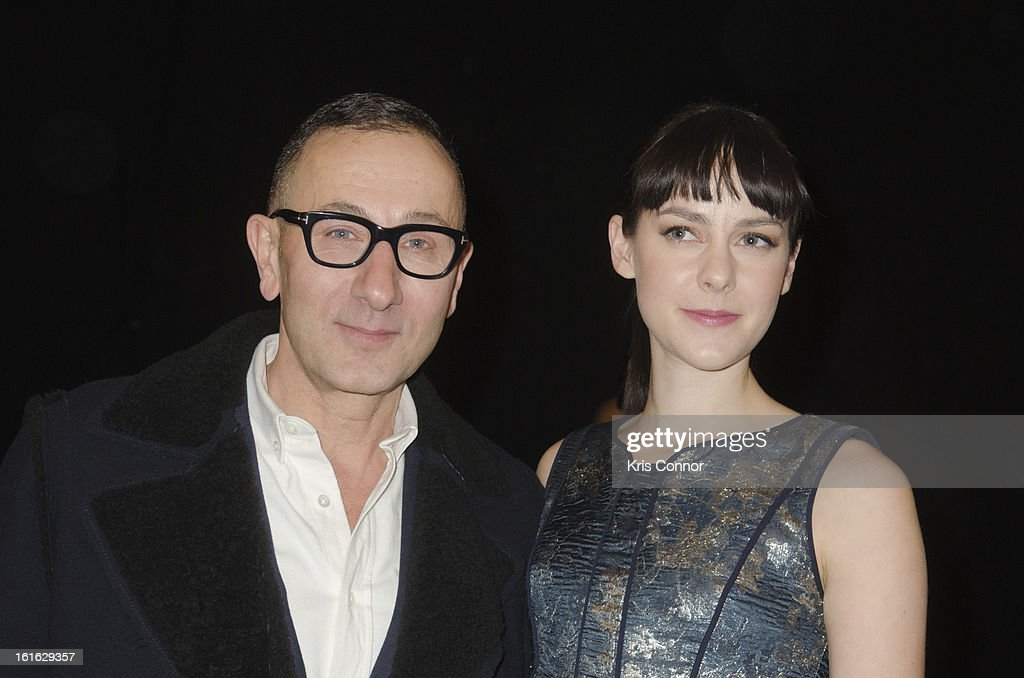 J. Mendel and Jena Malone pose during the J. Mendel Fall 2013 Mercedes-Benz Fashion Show at The Theater at Lincoln Center on February 13, 2013 in New York City.