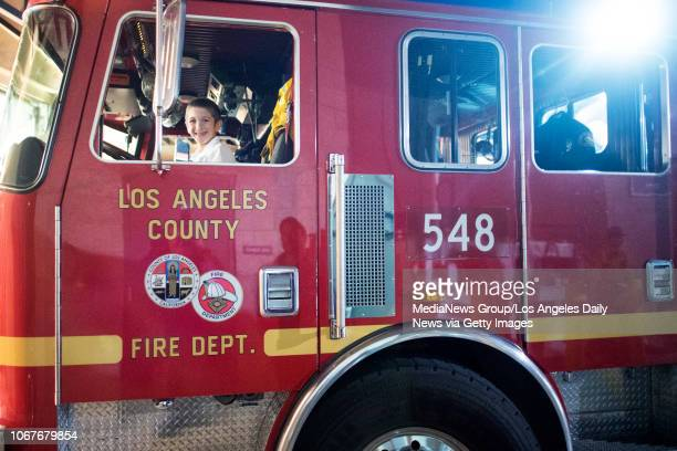 Mendel Kahanov 7years old sits in a fire truck Kahanov was part of a group from Chabad of Agoura Hills that went to Los Angeles County Fire Station...