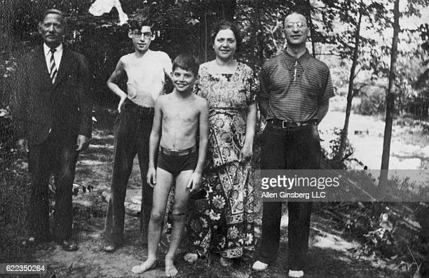 Mendel Levy Eugene Ginsberg Beat poet Allen Ginsberg Naomi Ginsberg and Louis Ginsberg pose outdoors in a family photo