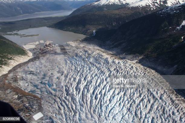 Mendenhall Glacier, seen from the air, near Juneau, Alaska.
