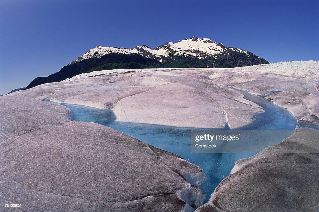 Mendenhall Ice Glacier , Juneau , Alaska : Stock Photo