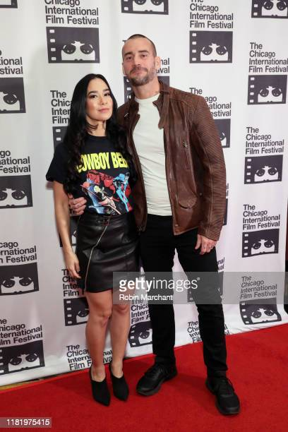 Mendez and Phil 'CM Punk' Brooks attend the red carpet Premiere of Girl on the Third Floor at the Chicago International Film Festival on October 18...