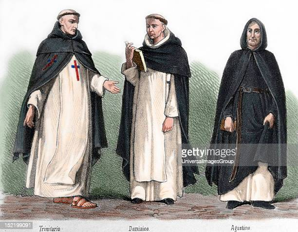 Mendicant orders in the Middle Ages From left to right Trinitarian friar Dominican and Augustinian Nineteenthcentury colored engraving