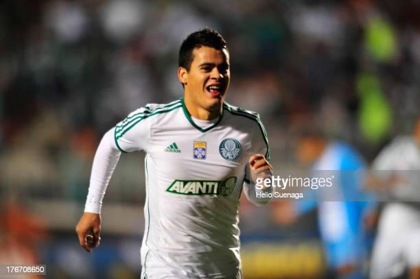 Mendieta of Palmeiras celebrates a scored goal during a match between Palmeiras and Paysandu as part of the Brazilian Championship Serie B 2013 at...