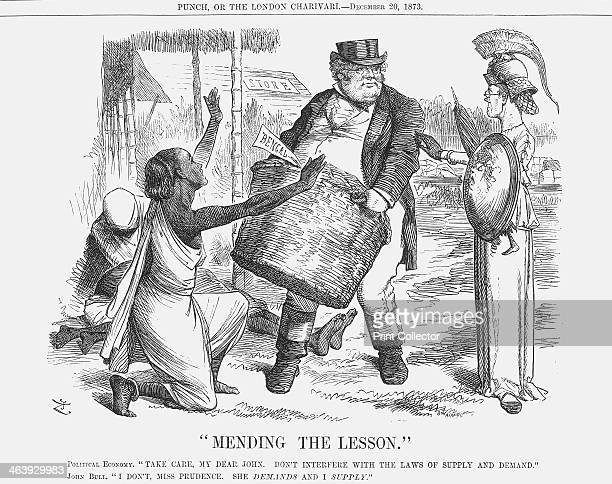 Mending the Lesson 1873 A skinny Britannia tells John Bull to beware of handing out too much charity to the needy This relates to the serious famine...