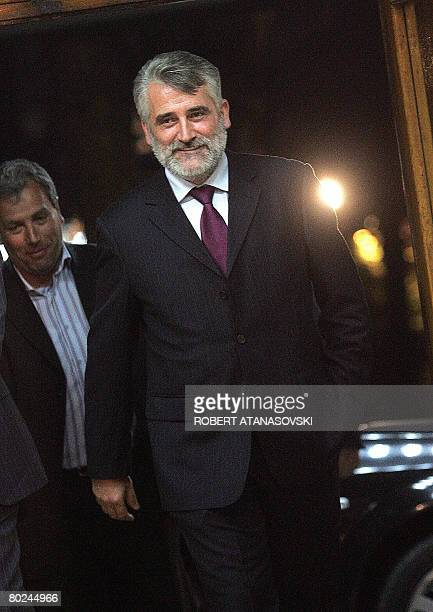 Menduh Taci, Macedonian politician and leader of the ethnic Albanian party DPA, arrives at the urgent meeting of the leaders of the major political...