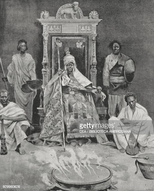 Menelik II Emperor of Abyssinia on his throne drawing by Eduardo Ximenes from L'Illustrazione Italiana Year XXII No 7 February 17 1895