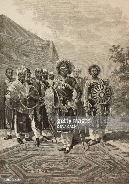 Menelik II Emperor of Ethiopia and his High Command in war clothes engraving by Cantagalli from a drawing by G Amato and a photograph by Leopoldo...