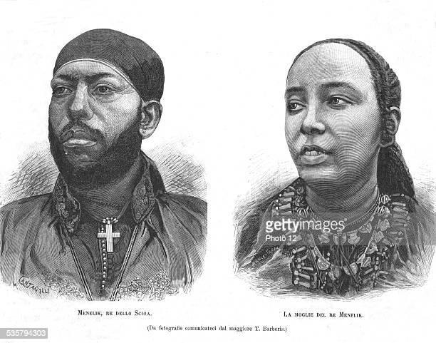 Menelik II Emperor of Ethiopia and his wife in L'Illustrazione italiana February 2 Ethiopia