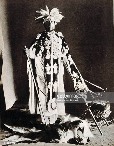 Menelik II Emperor of Ethiopia wearing a traditional garment 1900s