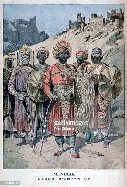 Menelik II of Abyssinia 1895 Emperor Menelik II baptized as Sahle Maryam An illustration from Le Petit Journal 10th November 1895