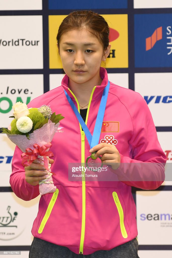 Meng Chen of China poses with the silver medal on the podium during the day 5 of the 2017 ITTF World Tour Platinum LION Japan Open at Tokyo Metropolitan Gymnasium on June 18, 2017 in Tokyo, Japan.