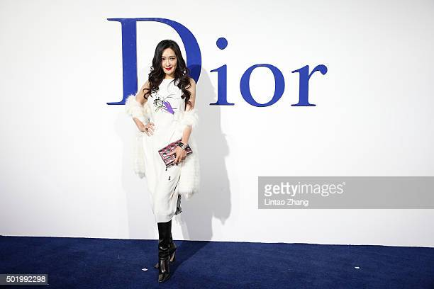 Meng Guangmei arrives at Dior SS 2016 Repeat Show at the Phoenix International Media Center on December 19 2015 in Beijing China