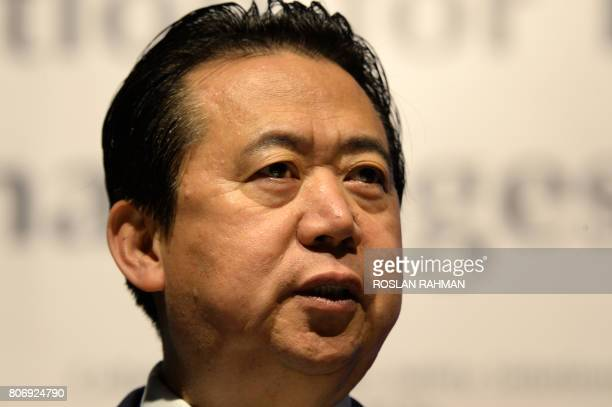 Meng Hongwei president of Interpol gives an addresses at the opening of the Interpol World Congress in Singapore on July 4 2017 The threeday...
