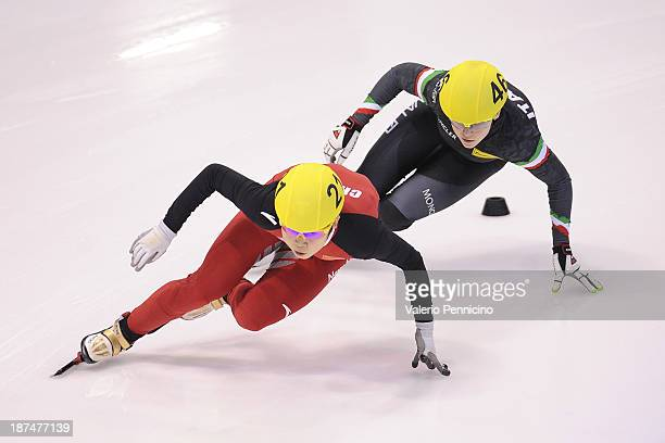 Meng Wang of China leads Arianna Fontana of Italy during the Ladies 500m final A on day three of the Samsung ISU Short Track World Cup at the...