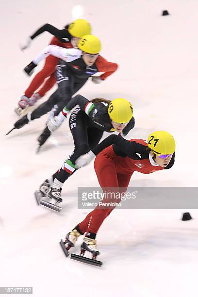 Meng Wang of China leads the group during the Ladies 500m semi finals on day three of the Samsung ISU Short Track World Cup at the Palatazzoli on...