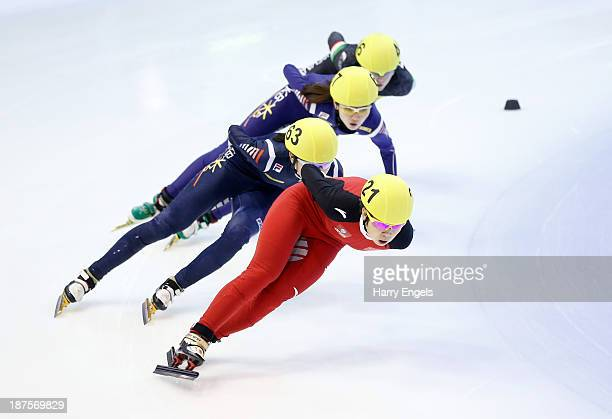 Meng Wang of China leads the group during the women's 1000m semifinal on day four of the Samsung ISU Short Track World Cup at the Palatazzoli on...