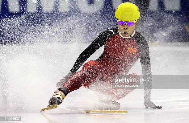 Meng Wang of China takes a tumble in the women's 1000 meter quarterfinals at the Samsung ISU short track speed skating World Cup on October 20 2012...