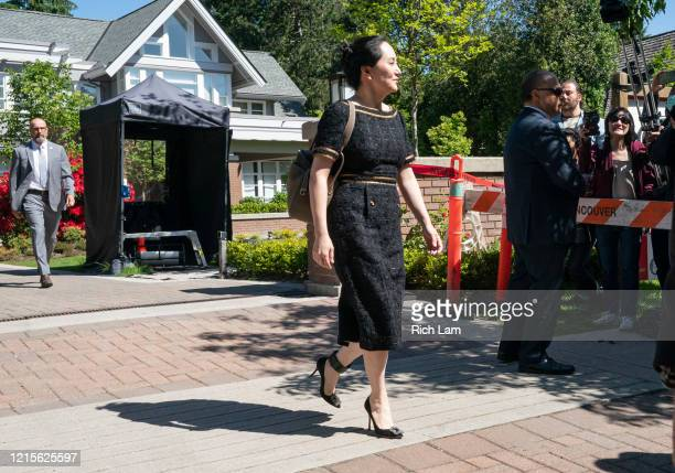 Meng Wanzhou, CFO of Huawei, leaves her home for her appearance at BC Supreme Court on May 27, 2020 in Vancouver, Canada. Meng a Huawei executive is...