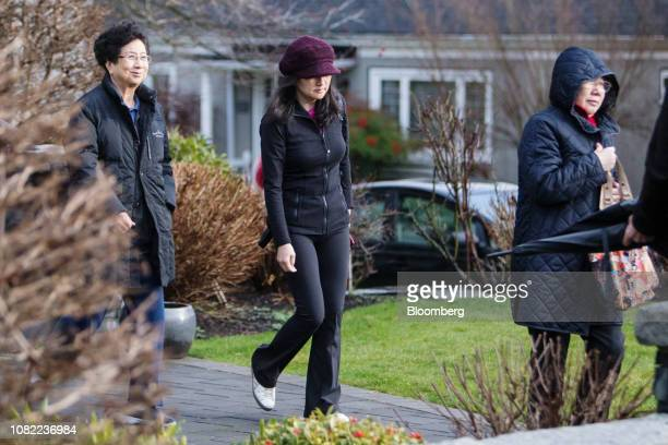Meng Wanzhou chief financial officer of Huawei Technologies Co center leaves her home while out on bail in Vancouver British Columbia Canada on...