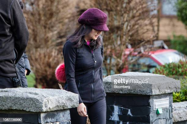 Meng Wanzhou chief financial officer of Huawei Technologies Co leaves her home while out on bail in Vancouver British Columbia Canada on Thursday Jan...