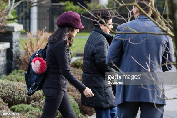 Meng Wanzhou chief financial officer of Huawei Technologies Co left leaves her home while out on bail in Vancouver British Columbia Canada on...