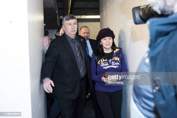 Meng Wanzhou chief financial officer of Huawei Technologies Co right arrives at the Supreme Court for a hearing in Vancouver British Columbia Canada...