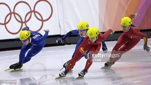 Meng Weng of China leads the pack during the Speed Skating Short Track Women's 1000 m race at the 2006 Olympic Games held at the Palavela in Torino...