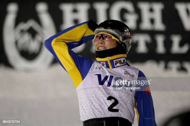 Mengtao Xu of China celebrates after a jump during in the Ladies' Aerials Finals during the 2018 FIS Freestyle Ski World Cup at Deer Valley Resort on...