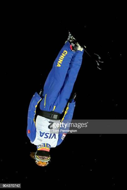 Mengtao Xu of China competes in the Ladies' Aerials Finals during the 2018 FIS Freestyle Ski World Cup at Deer Valley Resort on January 12 2018 in...