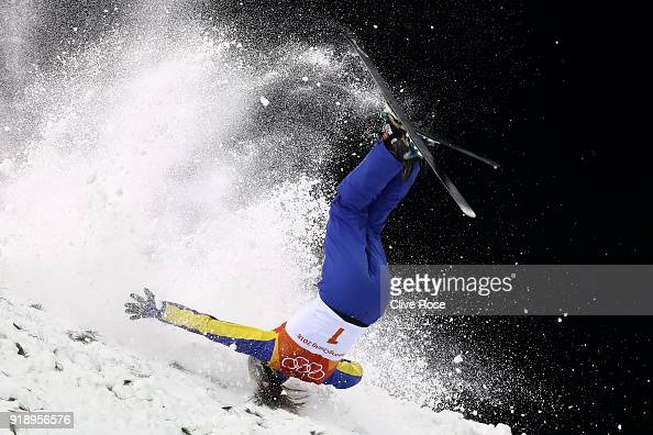 Mengtao Xu of China crashes during the Freestyle Skiing Ladies' Aerials Final on day seven of the PyeongChang 2018 Winter Olympic Games at Phoenix...