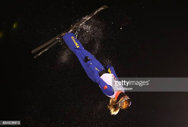 Mengtao Xu of China in action during the Ladies Aerials final at the FIS Freestyle Ski World Cup 2016/17 Aerials at Bokwang Snow Park on February 10...