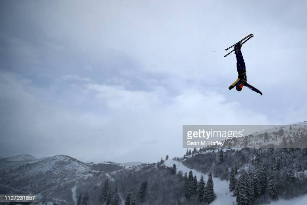 Mengtao Xu of China takes a training run during the Ladies' Aerials training session for the FIS Freestyle Ski World Championships on February 03...