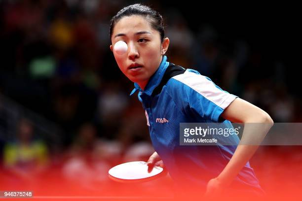 Mengyu Yu of Singapore plays a shot in the Mixed Doubles Gold Medal Match between Liam Pitchford and TinTin Ho of England and Ning Gao and Mengyu Yu...