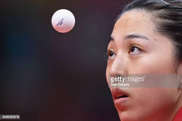 Mengyu Yu of SingaporeÊcompetes against Manika Batra of India during the Women's Singles Gold Medal Table Tennis match on day 10 of the Gold Coast...