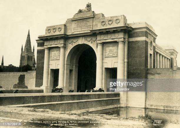 Menin Gate Memorial to the Unknown Soldiers of the British Armies', Ypres, Belgium, circa 1927. The Menin Gate, designed by Sir Reginald Blomfield,...