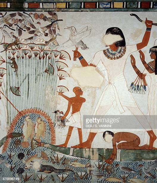 Menna and his family fishing and fowling in the marshes of the Nile detail from frescoes in the chapel of the Tomb of Menna Sheikh Abd el Qurnah...