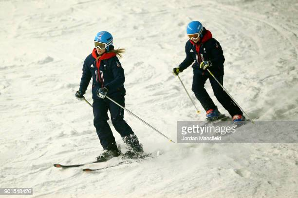 Menna Fitzpatrick and guide Jennifer Kehoe in action during the ParalympicsGB team announcement for PyeongChang 2018 Alpine Skiing and Snowboard Team...