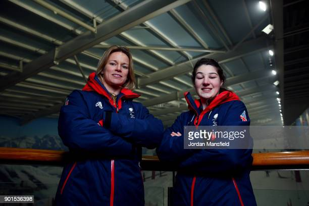 Menna Fitzpatrick and guide Jennifer Kehoe pose for a photo during the ParalympicsGB team announcement for PyeongChang 2018 Alpine Skiing and...