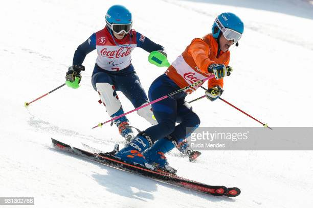 Menna Fitzpatrick and her guide Jennifer Kehoe of Great Britain compete in the Women's Super Combined Visually Impaired Alpine Skiing event at...